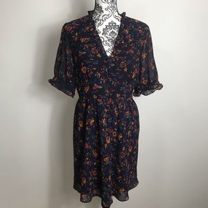 Madewell Floral Fit Flare Ruffle Detail Dress 8
